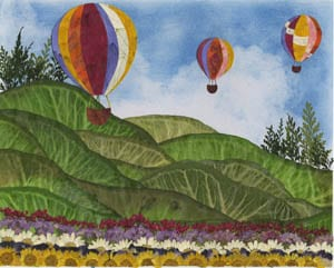 Techniques of Hot Air Balloon Landscape Pressed Flower Picture