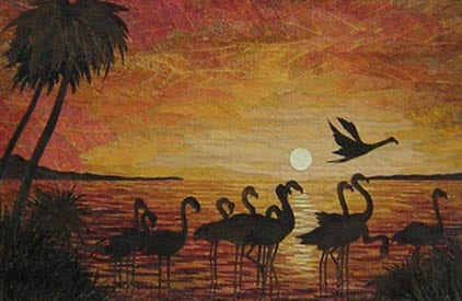 Flamingoes at Sunset