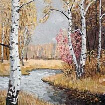Autumn Landscape with Birch Tree